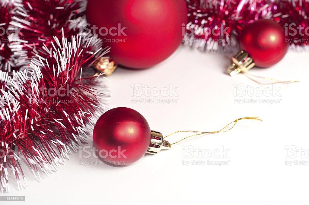 Christmas border Red Christmas decoration on white background Celebration Stock Photo
