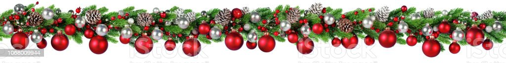 Christmas Border - Red And Silver Ball Hanging In Fir Garland Christmas Border Isolated On White Banner - Sign Stock Photo