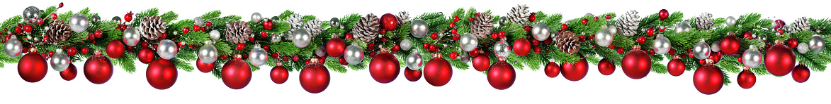 Christmas Border Red And Silver Ball Hanging In Fir Garland Stock Photo - Download Image Now