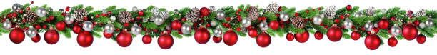 Christmas Border - Red And Silver Ball Hanging In Fir Garland stock photo