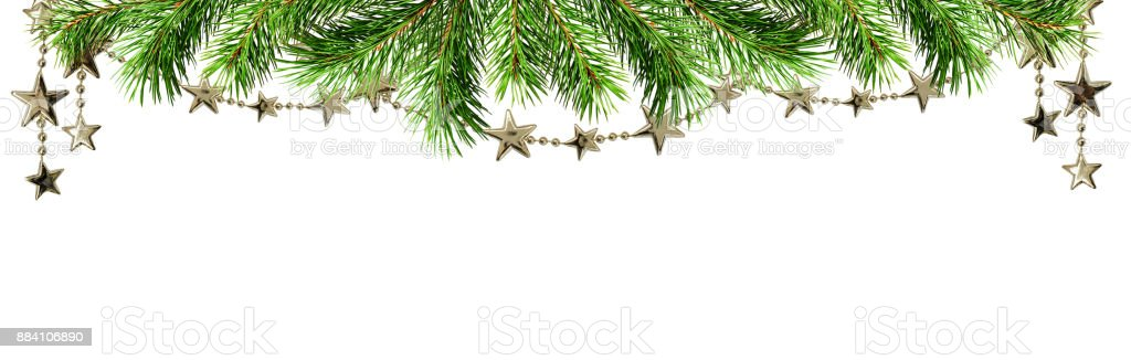 Christmas border with green pine twig and garlands stock photo