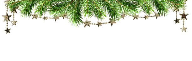 Christmas border with green pine twig and garlands - foto stock