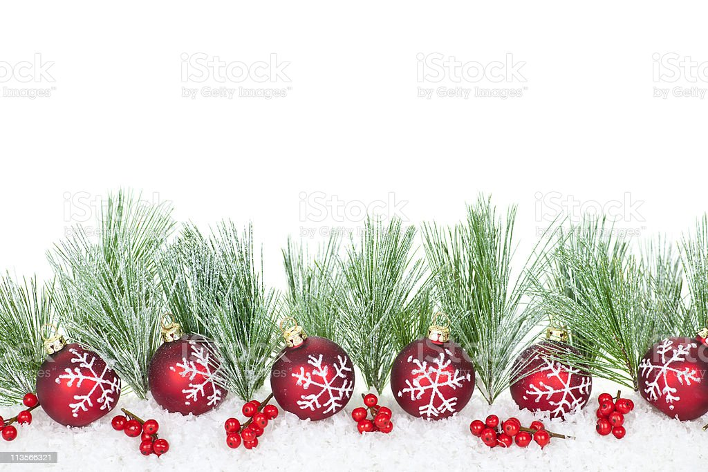 Christmas border with red ornaments royalty-free stock photo