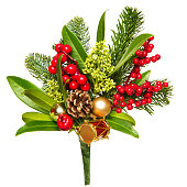 istock Christmas Bouquet Isolated on White, Xmas Red Berries and Green Leaves 1180598766