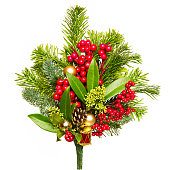 istock Christmas Bouquet Isolated on White, Xmas Red Berries and Green Leaves 1180598779