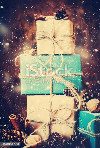 493890050 istock photo Christmas Boxes and Natural Gifts. Vintage with Drawn Snow 493884770