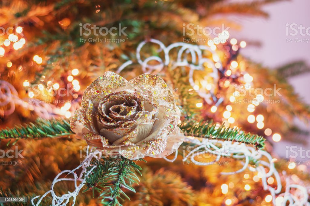 Christmas branch decorated with a golden Christmas rose.