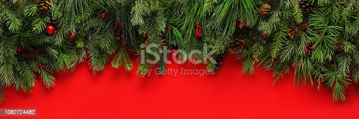 istock Christmas branches background 1062724482