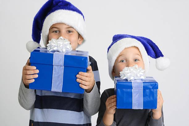 Christmas Brothers stock photo