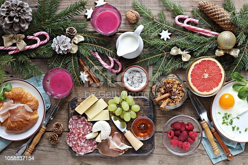 istock Christmas brunch or breakfast table. 1058837154
