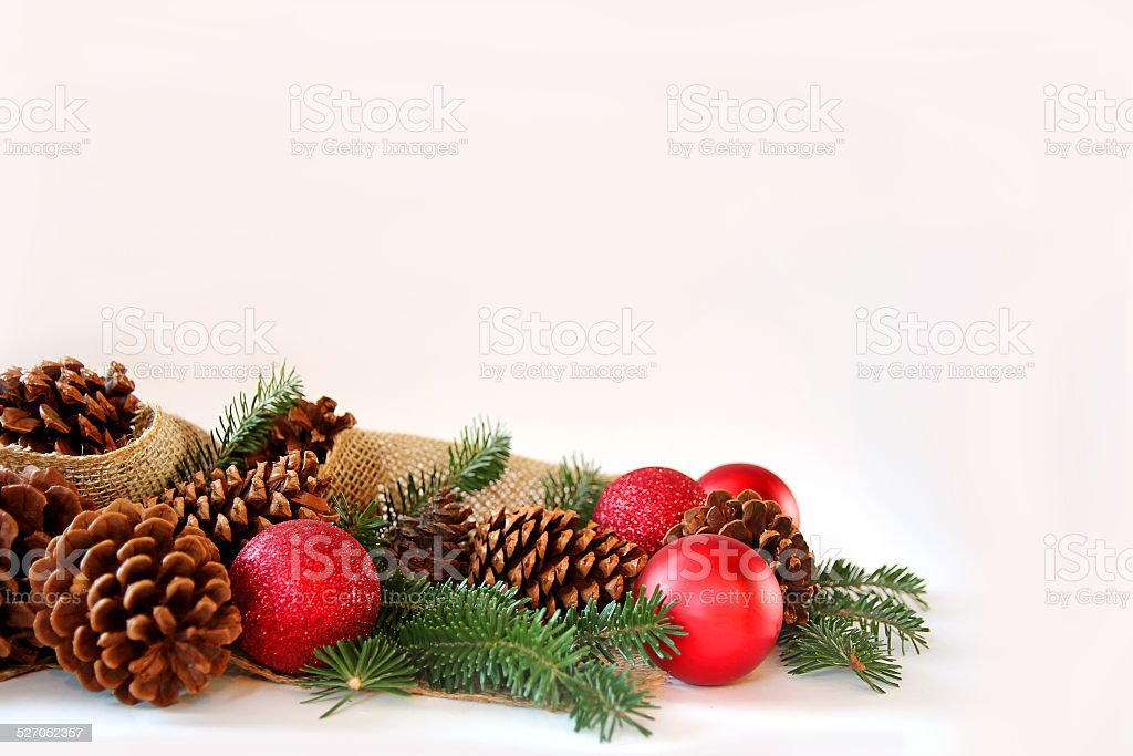 Christmas Bulb, Pine Cone, and Evergreen Border Isolated on Whit stock photo