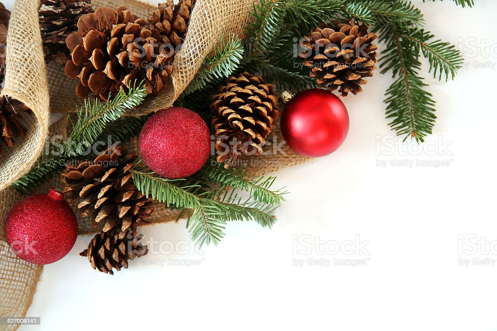 Christmas Bulb, Pinecone and Evergreen Border Isolated on White stock photo