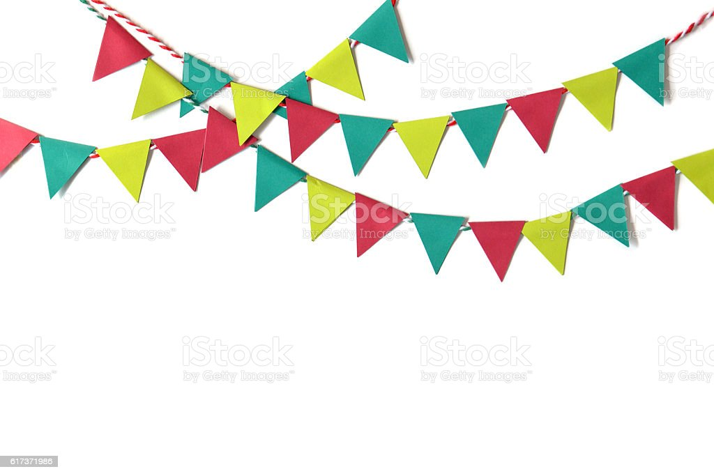 Christmas bunting paper cut stock photo