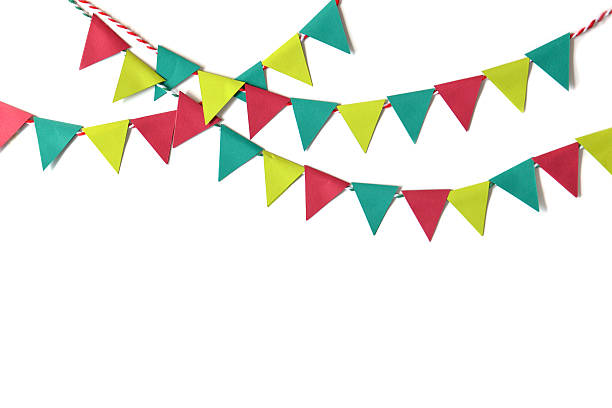christmas bunting paper cut - garland decoration stock photos and pictures