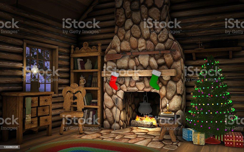 Christmas Cabin Interior - Royalty-free Avondschemering Stockfoto