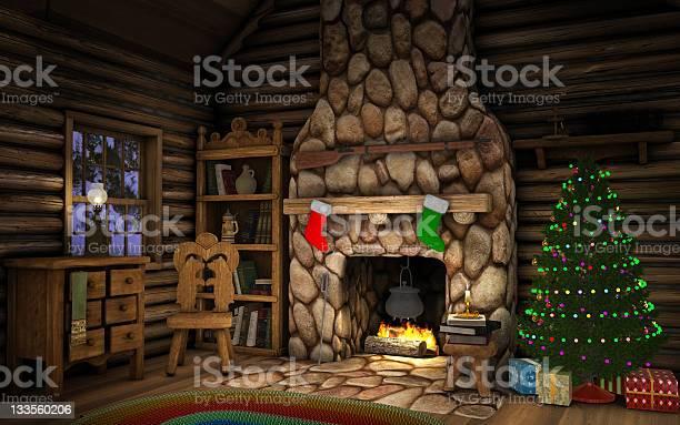 Christmas Cabin Interior Stockfoto en meer beelden van Avondschemering