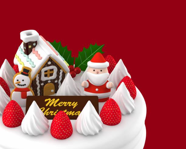 weihnachtskuchen, 3d illustration - weihnachtsmannhüte aus erdbeeren stock-fotos und bilder