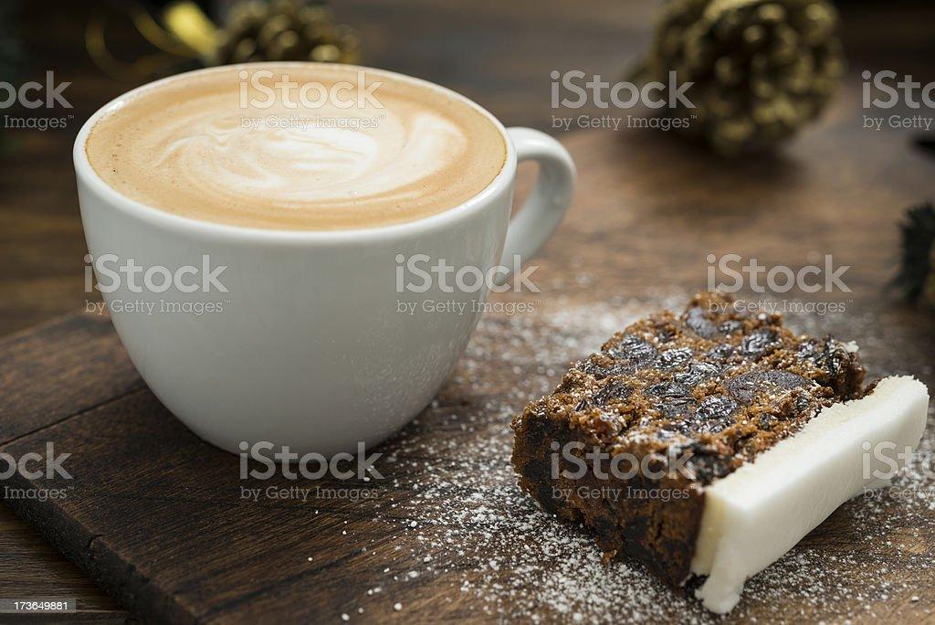 Christmas Cake and Coffee stock photo