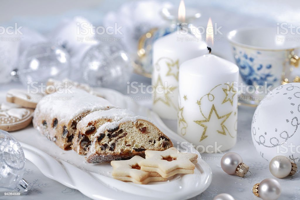 Christmas cake and cookies stock photo