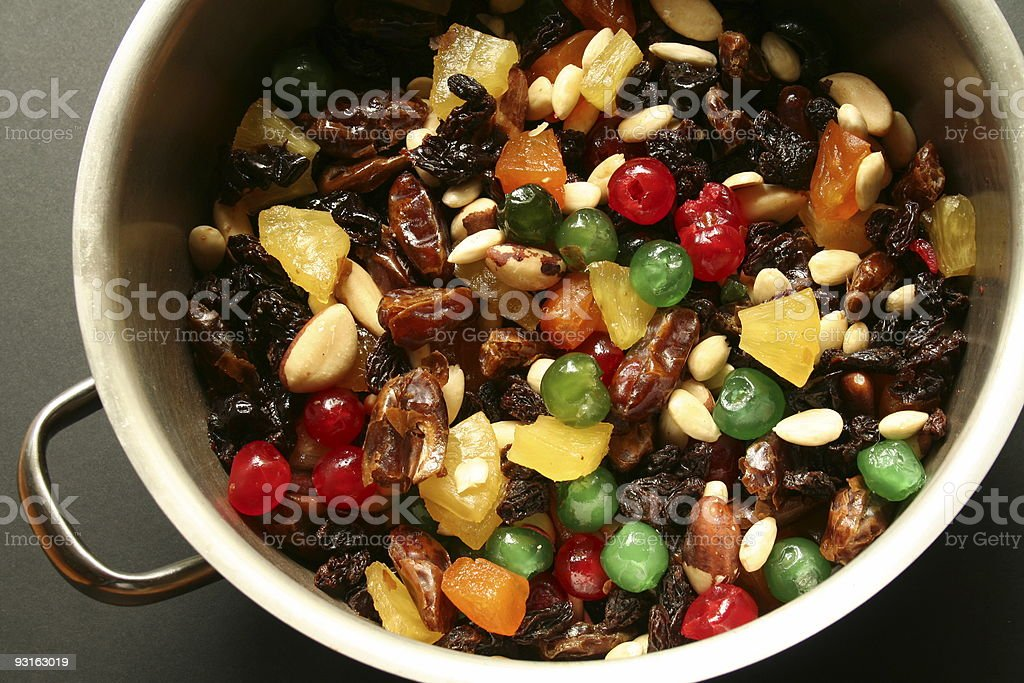Christmas cake mixture in a pot stock photo