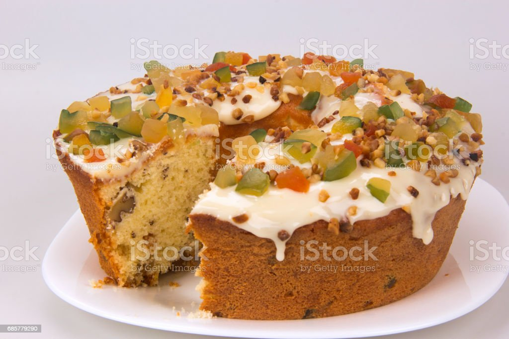 Christmas Cake. Traditional cake with candied fruit. royalty-free stock photo