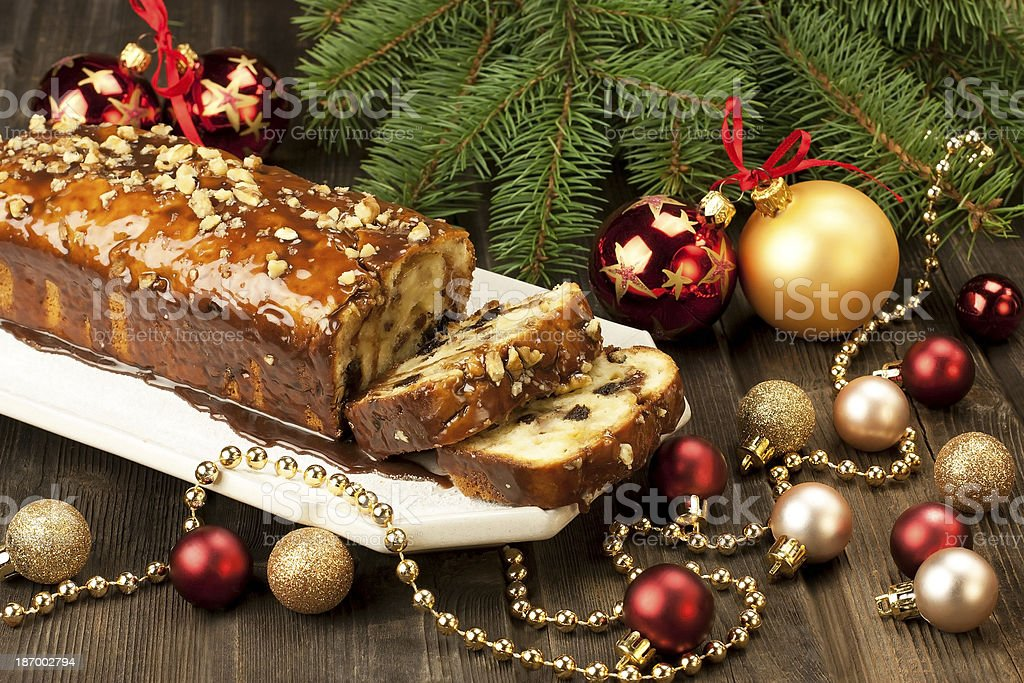 Christmas cake with decoration stock photo