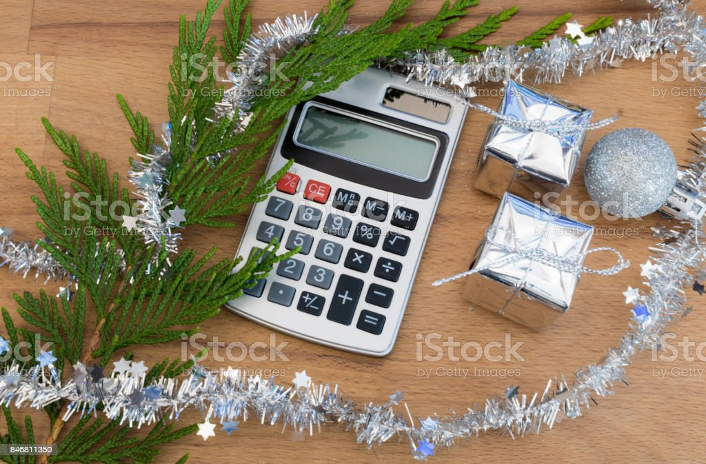 Christmas Calculator On A Desk Stock Photo & More Pictures of
