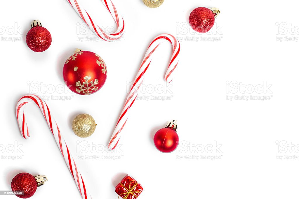 christmas candies and balls stock photo