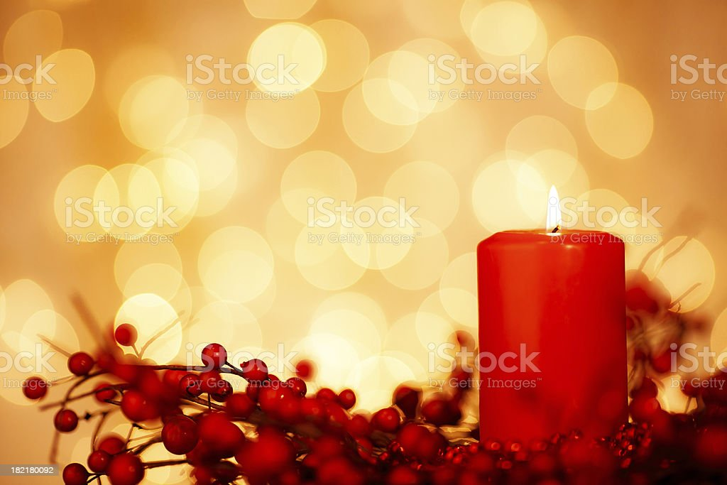 Christmas Candle & Baubles stock photo