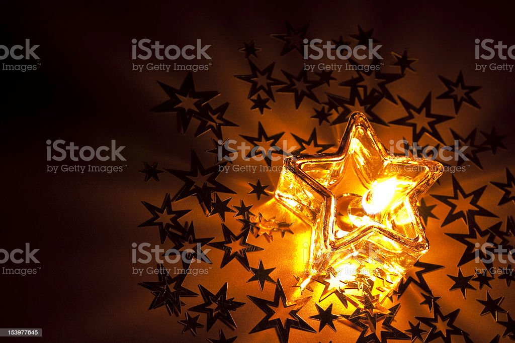 Christmas candle baubles ribbons with copyspace royalty-free stock photo