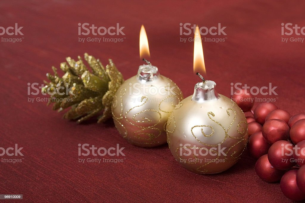 Christmas candle decors royalty-free stock photo