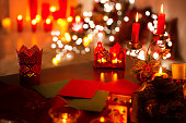 Christmas Candle Lights, Xmas Letter on Table, Holiday De Focused Night Illumination