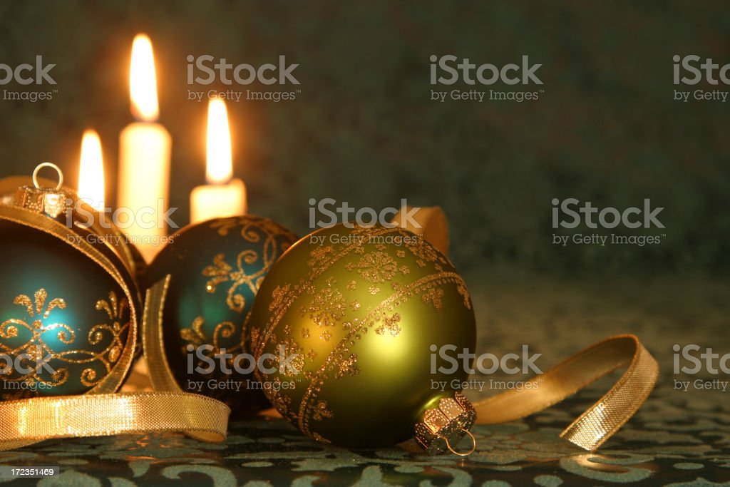 Christmas Candles & Baubles royalty-free stock photo