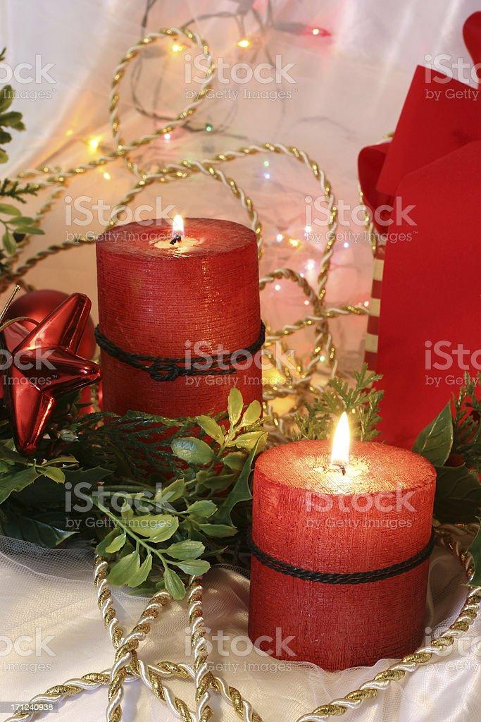 Photo Libre De Droit De Noël Bougies Et Les Lumières Dans Un