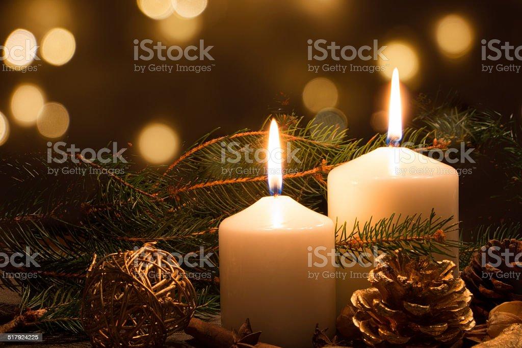 Christmas candles and lights stock photo