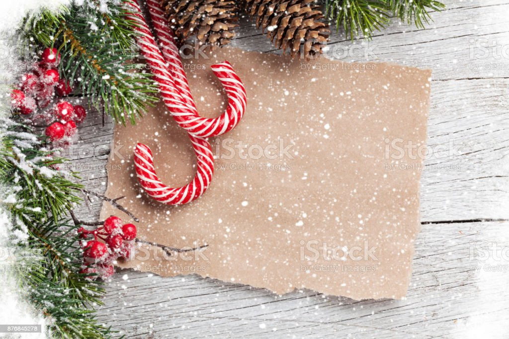 Christmas candy cane and fir tree stock photo