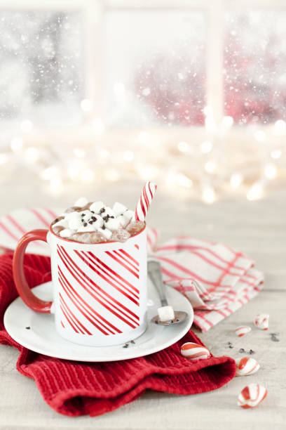 noel candy cane nane sıcak çikolata - nane şeker stok fotoğraflar ve resimler