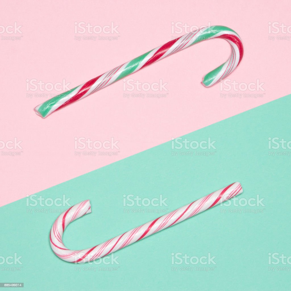 Christmas candy canes minimal concept stock photo