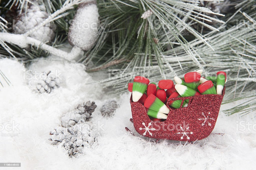 christmas candy in sleigh royalty free stock photo - Christmas Candy Sleigh