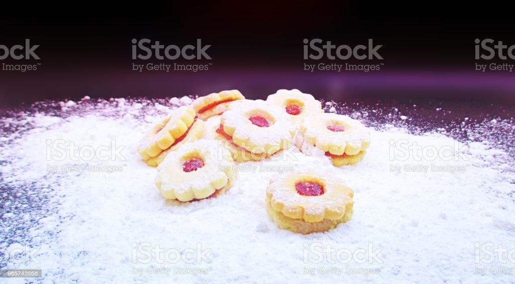 Kerst snoep bestrooid met poedersuiker - Royalty-free Achtergrond - Thema Stockfoto