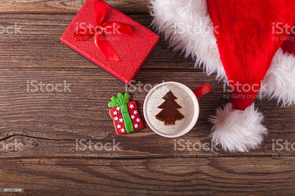 Christmas cappuccino and gingerbread cookies stock photo