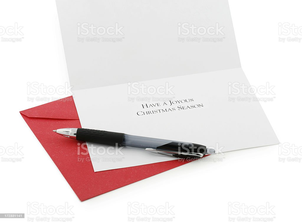 Christmas Card & Pen royalty-free stock photo