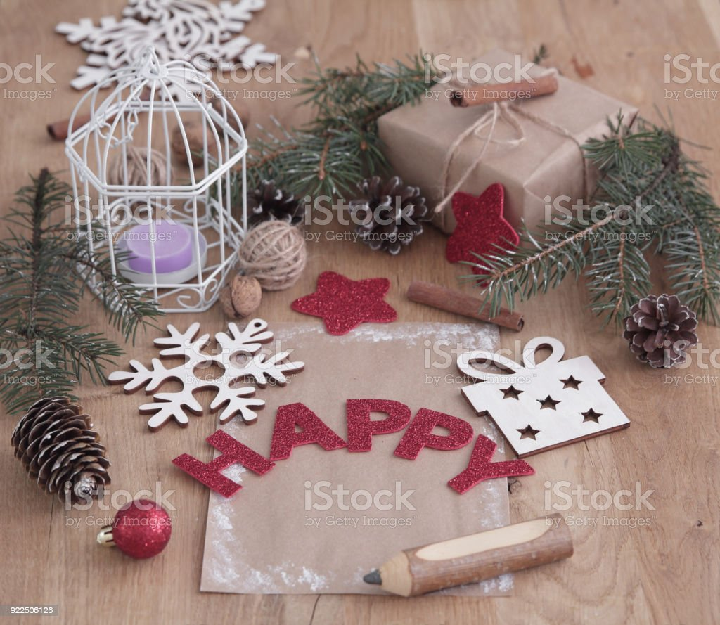 Christmas Card And Christmas Decoration In Vintage Style Stock Photo ...