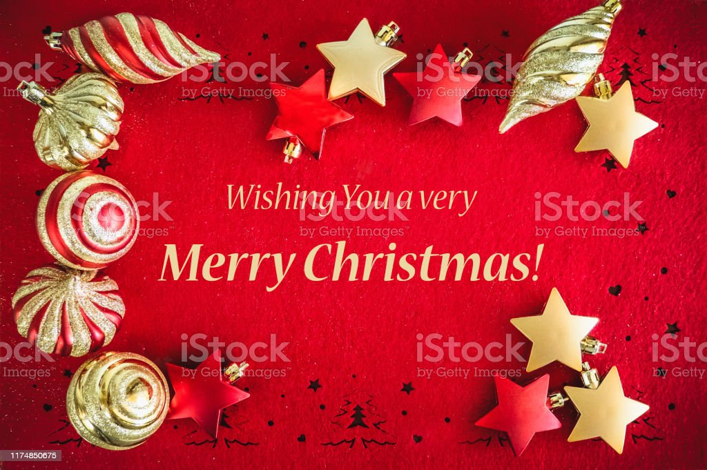 christmas card background with balls and ribbon and wishes