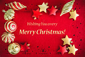 Christmas card background with Balls and Ribbon and Wishes Text