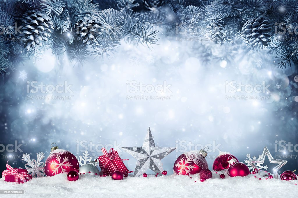 Christmas Card - Baubles And Fir Branch On Snow stock photo