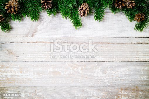 Christmas card. Christmas background with christmas fir tree and pine cones. Winter holidays concept. Top view. Copy space