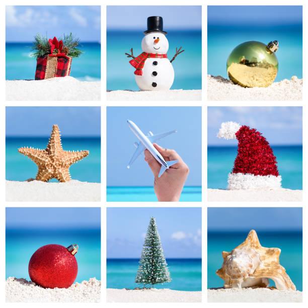 Christmas card collage, celebration on tropical destination stock photo