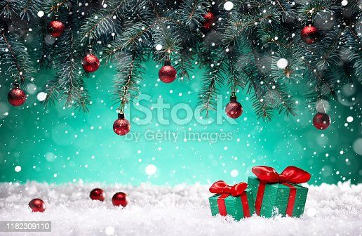New Year's card, Christmas night, festive tree decorated with toys, gift boxes and decorations, holiday background, christmas art design, fluffy white snow.