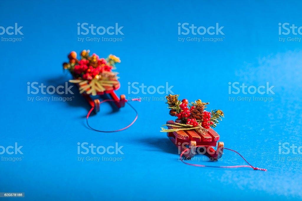 Christmas card in horizontal orientation with decorative sleds. zbiór zdjęć royalty-free